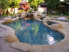 Faux rock pool and spa
