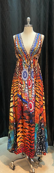 Animal Print Dress w/Front Slits