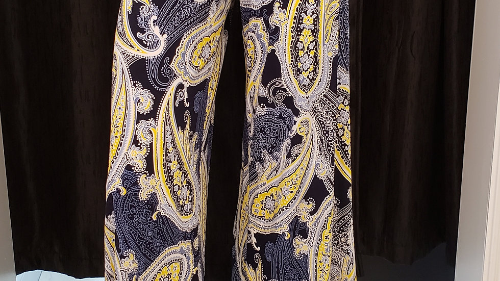 Paisley Print Soft Knit Palazzo Pants