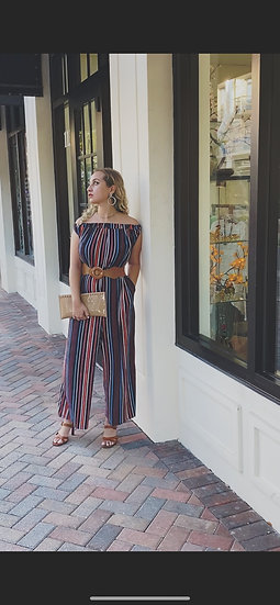 Navy Multi Striped Jumpsuit