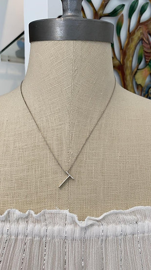 Silver Initial T Necklace