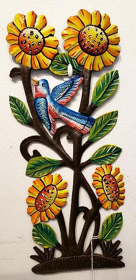 Haitian Drum Art - Sunflower with bird