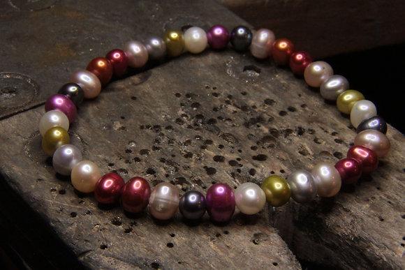 Bracelet Perles de culture multicolore