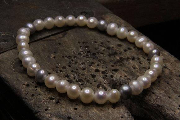 Bracelet Perles de culture blanc et gris