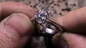 Solitaire Or blanc 18 carats et diamant 2,74ct D SI