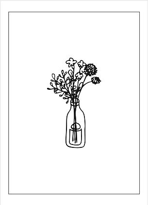Illustratie vaas bloemen
