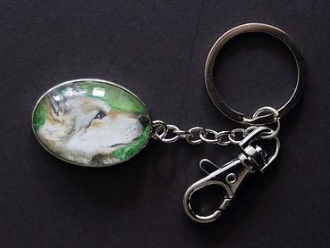 Wolf Portrait Aquarell Schlüsselanhänger