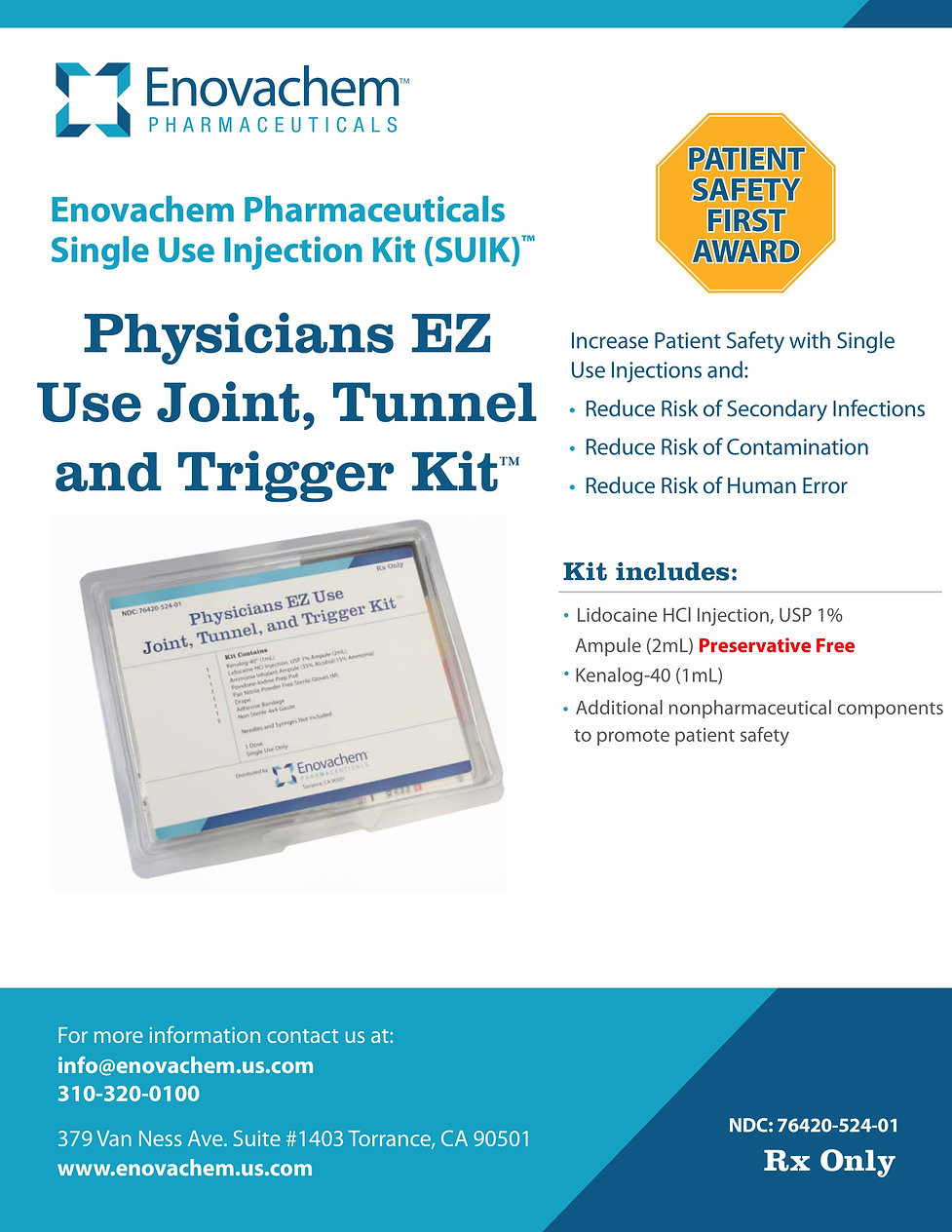 Physicians EZ Use Joint, Tunnel and Trig