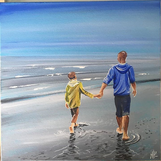Father and Son on beach print