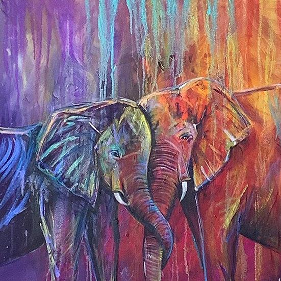Two Elephants print