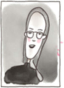 Illustriertes Porträt von Carmen Fischer Neumayer. Das Portrait ist im comicstil gezeichnet. Tusche und Aquarell.