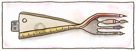 Ein illustriertes Phantasiewerkzeug mit einem USB-Stecker. Es ist eine Gabel mit Massstab und die vier Zacken sind vier verschiedene Stiftspitzen: Bleistift, Pinsel, Rapidograph und Tabletstift.
