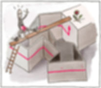 Die Illustration zeigt ein Labyrinth aus vielen Wänden mit Ecken und Windungen. Die Wände sind in verschiedenen Winkeln angeordnet. Die Perspektive leicht von oben. Auf den Wänden ist eine lange horizontale rote Linie, die sich durchzieht bis zur letzten Wand am Ende des Labyrinths. Die rote Linie endet mit einer Pfeilspitze, welche nach oben zeigt. Dort wächst eine blühende Blume die auf dem Flachdach der angrenzend dieser Wand. Auf der ersten vordersten Wand steht Leiter angelehnt. Über dem Labyrinth liegt ein Brett, welches als Abkürzung bis zur Blume liegt. Carmen Fischer Neumayer als Comicfigur geht mit einer Giesskanne auf diesem Brett auf dem kürzesten Weg zur Blume.