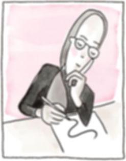 Illustriertes Bild von Carmen Fischer Neumayer. Sie sitzt am Tisch und zeichnet eine Linie auf ein Blatt. Das Bild ist im comicstil gezeichnet. Tusche und Aquarell.