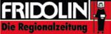Logo der Gratiszeitung Fridolin. Weiss, rot, schwarz mit dem heiligen Fridolin im Logo.