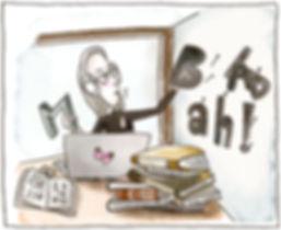 Illustriertes Bild von Carmen Fischer Neumayer. Sie sitzt am Tisch am Laptop, hat ein Kopfhörer auf und telefoniert gerade mit einem Kunden. Auf dem Tisch stapeln sich Bücher und an der Wand hängen Buchstaben an Nägeln. Carmen greift sich gerade ein B und in der anderen Hand hält sie ein M. Das Bild zeigt den kreativen Prozess mit Typografie und Layout.