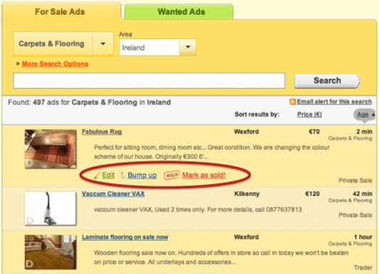 Edit your ad from the Search Page