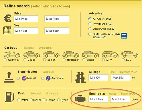 You can now search by Engine Size in Cars!