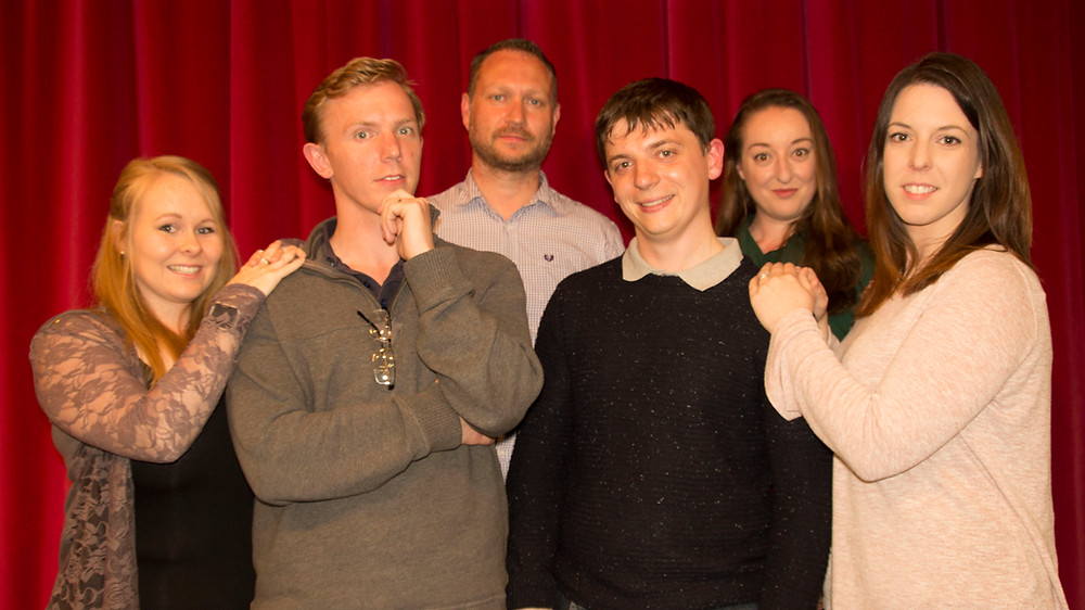 From L to R: Lisa Gage (Jolene), Nick Harris (Lawrence), Rob Judge (Andre), Tomas Lowe (Freddy), Diana Hodgson (Muriel), Beth Harris (Christine)  Photo Credit: William Scott-Robinson