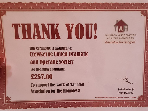 Thank you from Taunton Association For The Homeless.