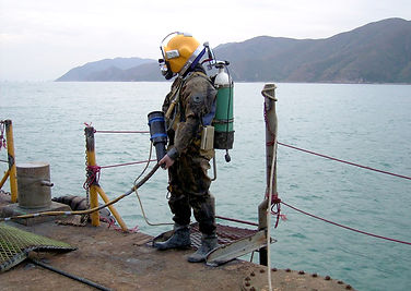 Diver with CP Gun for Testing of CP System on Submarine Structures