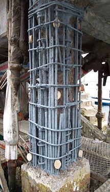 Concrete repair with sacrificial zinc anodes installed at Fuel Jetty