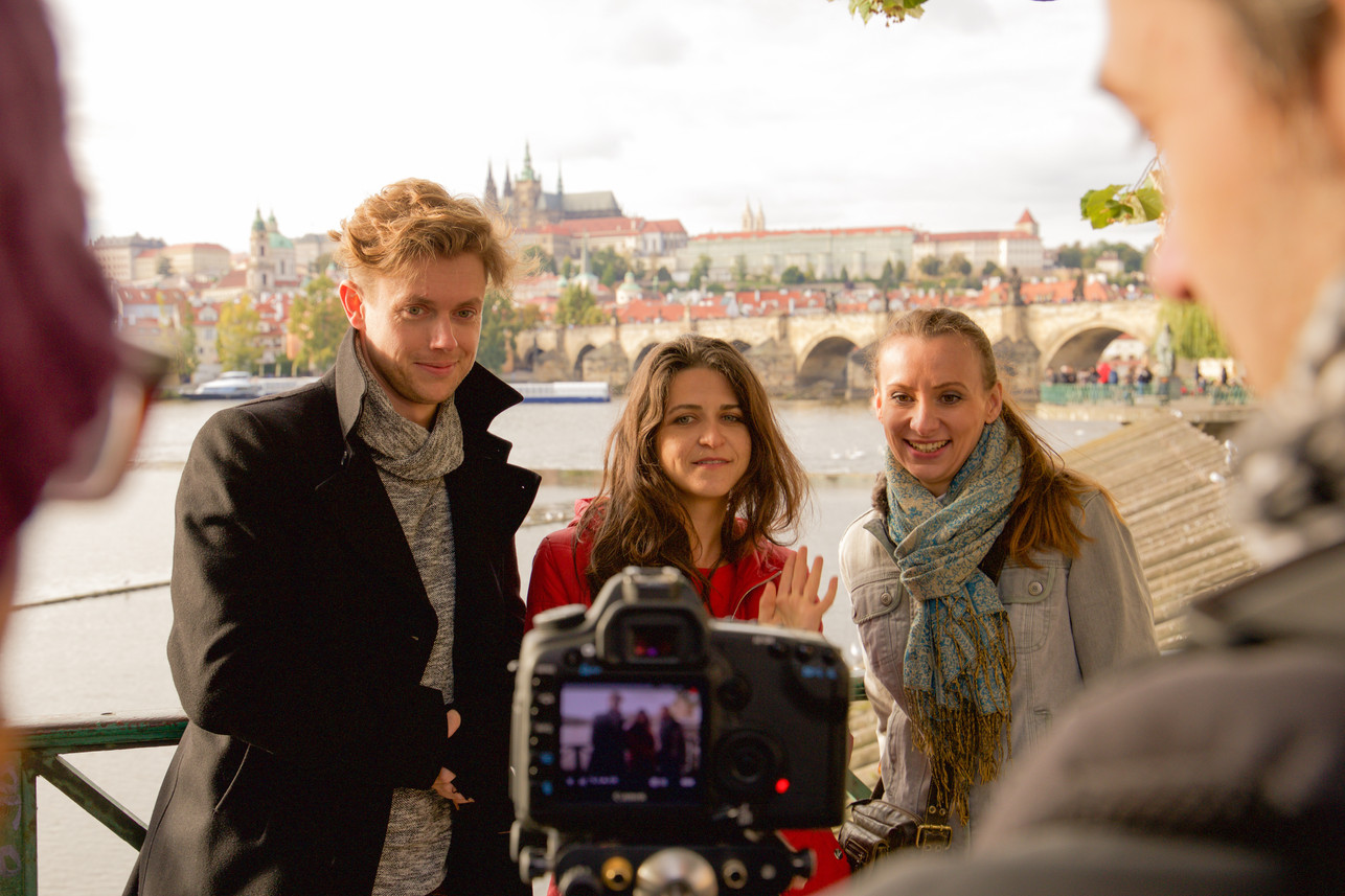 On set in Prague for YKYD a Czech woman