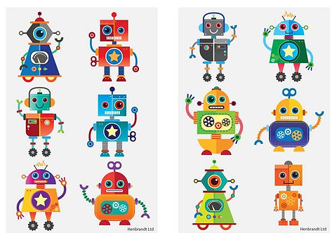 12 x ROBOT FUN TATTOOS (4CM) 2 x SHEETS