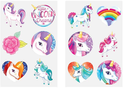 12 x UNICORN FUN TATTOOS (4CM) 2 x SHEETS