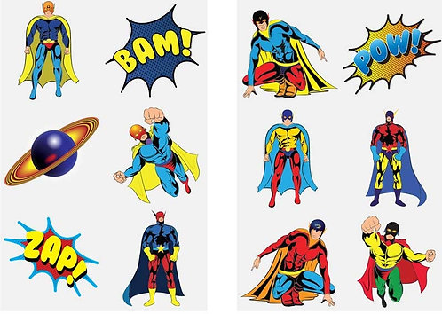12 x SUPER HERO FUN TATTOOS (4CM) 2 x SHEETS