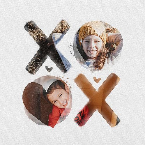 Watercolor XOXO digital photo art