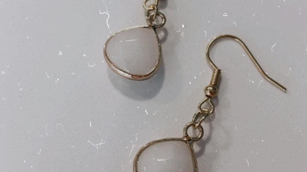 white stone earings