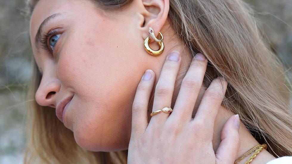 snake pink earings
