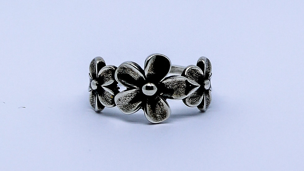 flower silver ring