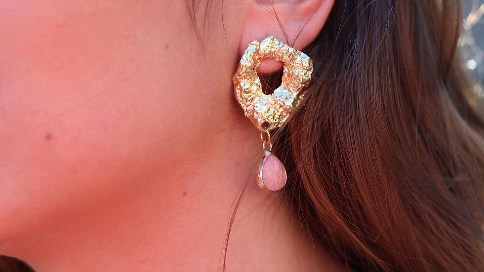 pink golden earrings