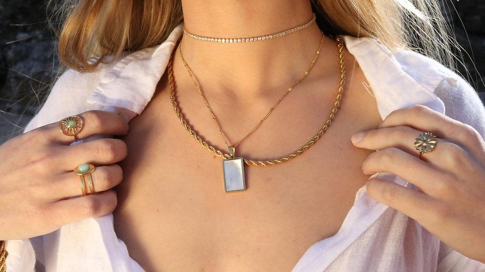 Pearl square necklace