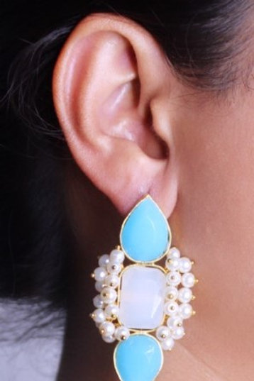 AquaMarine with pearl earring