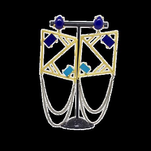 Blue agate dangler earring