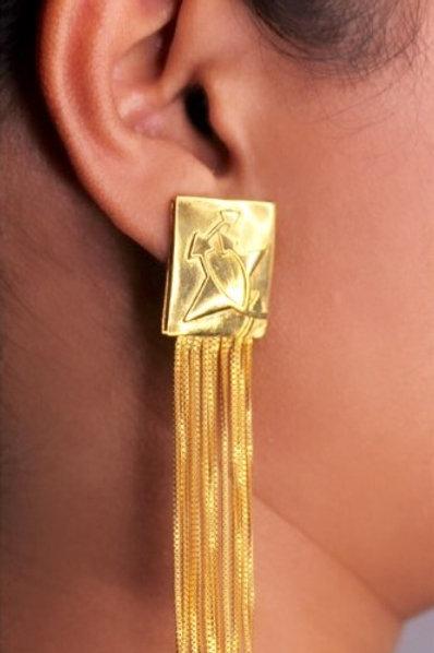 Gold tassel earring