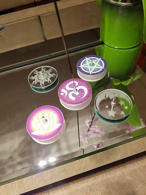 Incensário de vidro mandala 7,5 cm de diâmetro