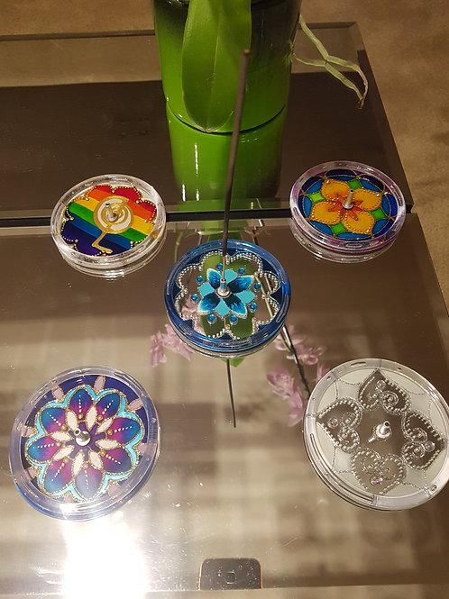 Incensário de vidro mandala 9,5 cm de diâmetro