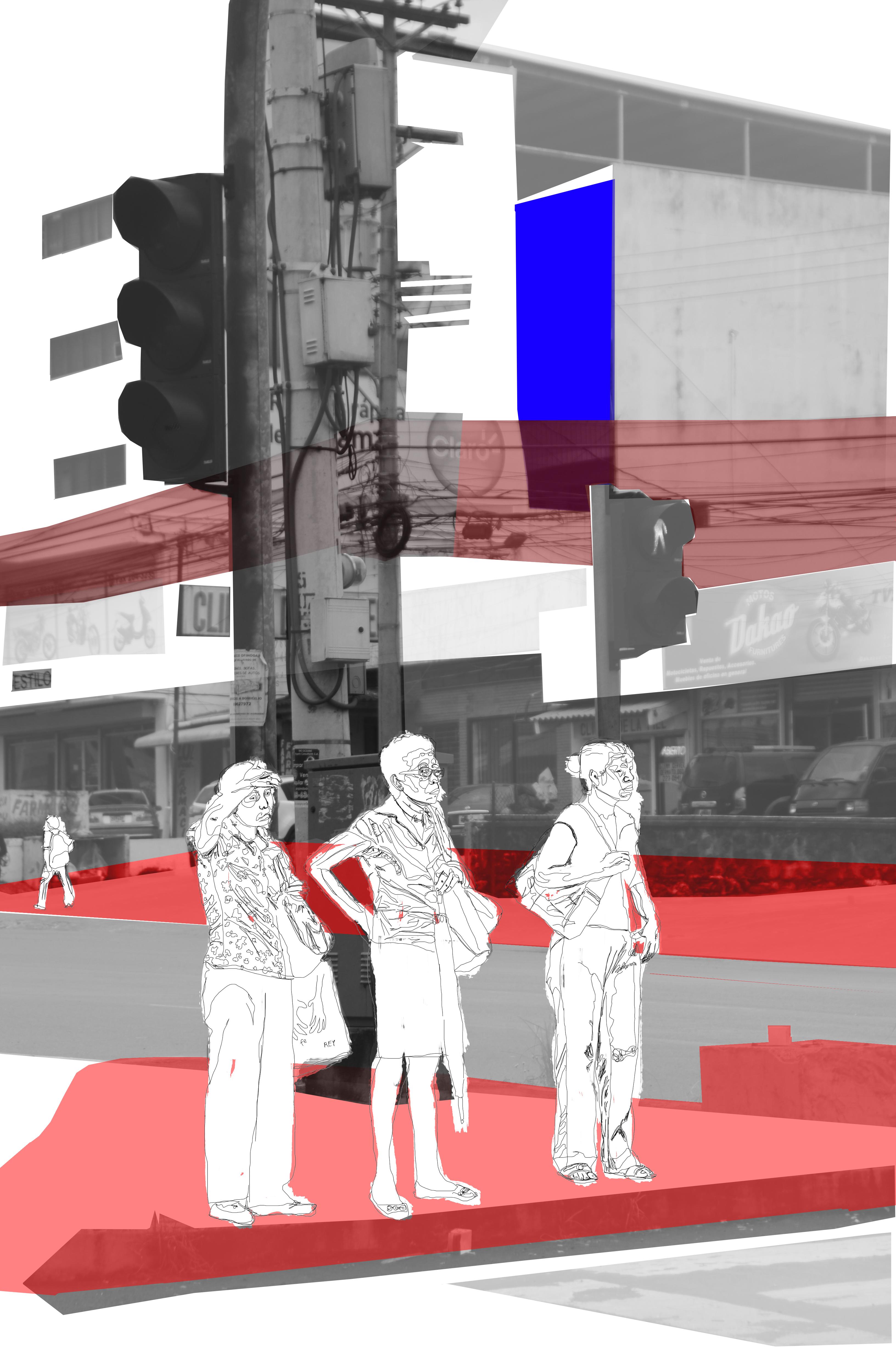 mujeres en la calle cruzando