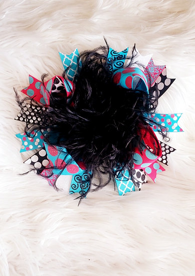 Black/Pink Fairy Fur Bow