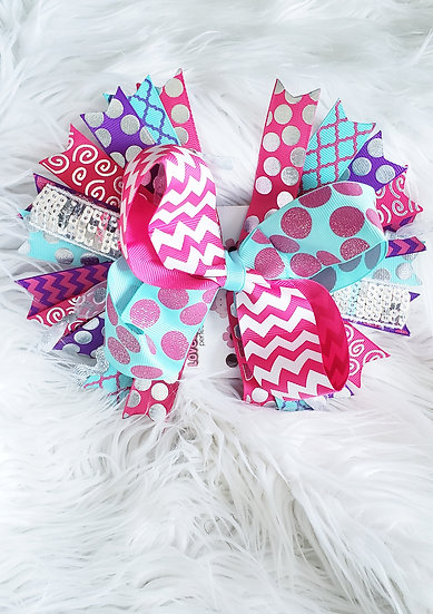 Hot Pink/ Turquoise Bow