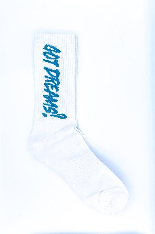 White/ Turquoise Crew Socks