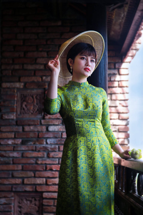 Portrait of woman in green dress