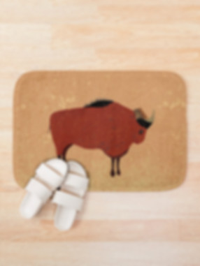 Bath mat with bison design