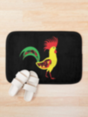 Bath mat with rooster design