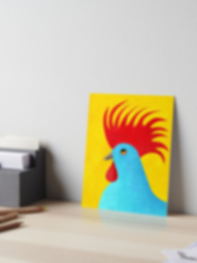 art board with blue rooster illustration