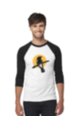 Male model wars raglan shirt with bird design